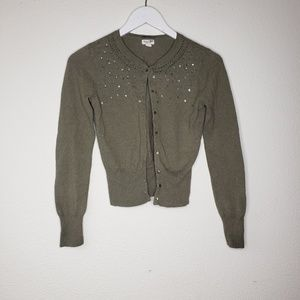 American Eagle Outfitters Green Cropped Cardigan